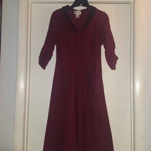 Unique vintage 1950s burgundy and black swing dres
